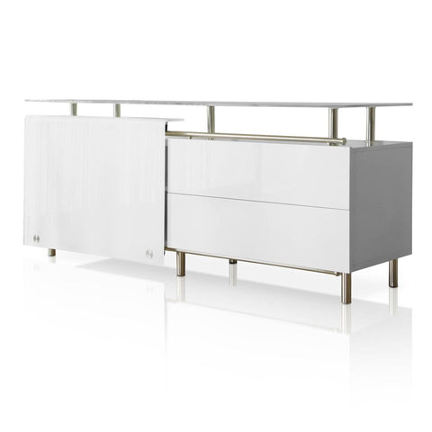 "71"" White Glass-Top Storage Credenza"