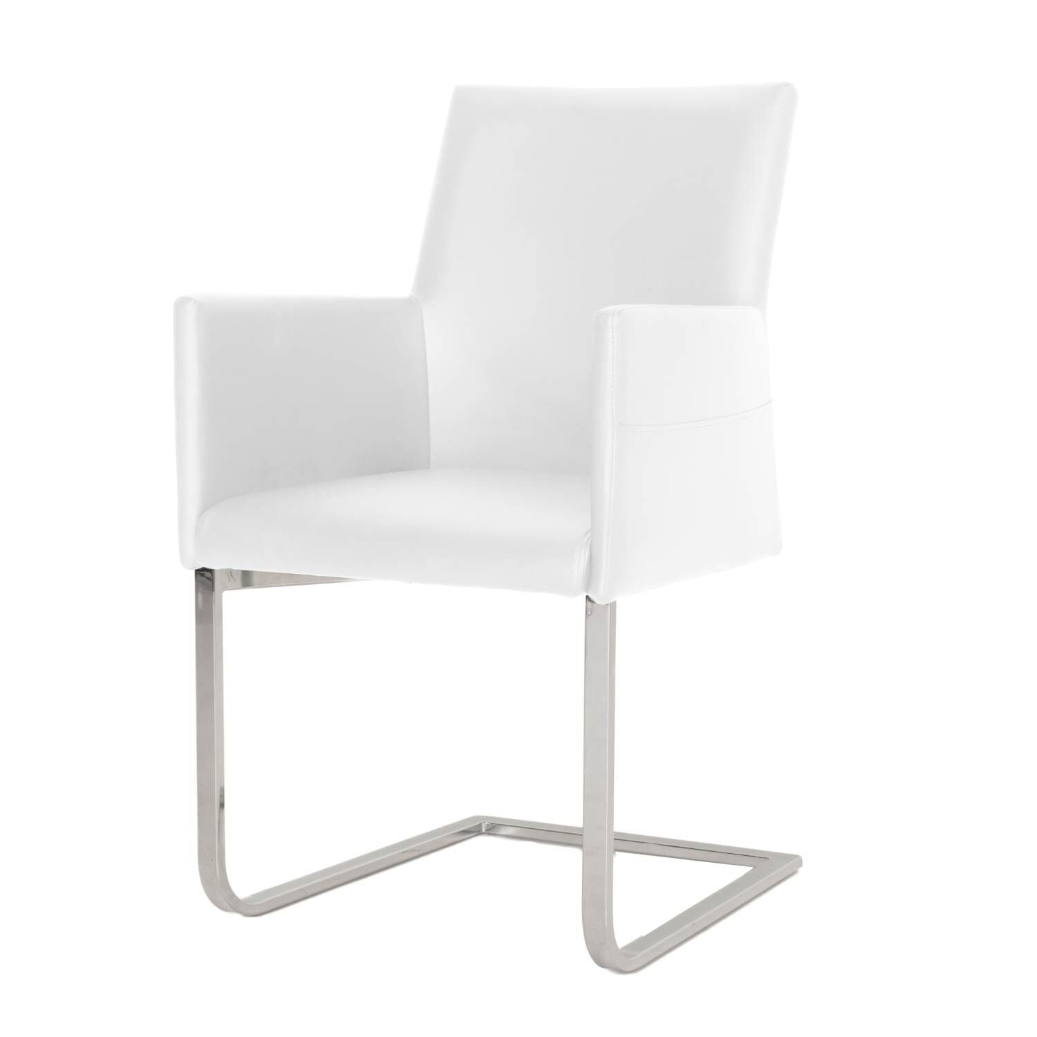 White Padded Guest or Conference Chair with Arms