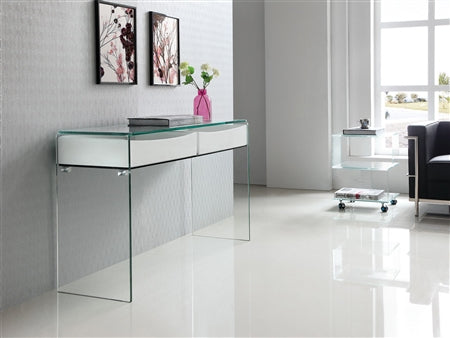 "White & Glass 47"" Console Desk w/ 2 Drawers"