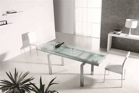 Modern Extendable Frosted Glass & Chrome Executive Desk or Conference Table