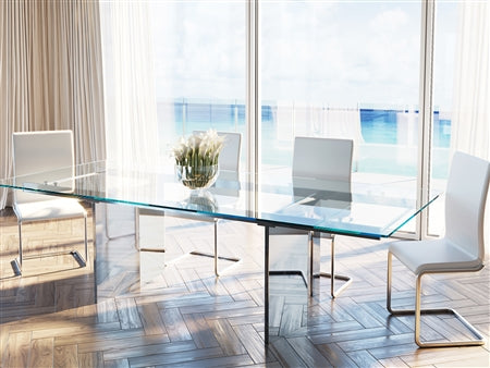 "78"" - 106"" Stunning Extending Glass Conference Table w/ Stainless Steel Base"
