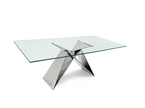 "86"" Executive Office Desk or Conference Table in Glass & Steel"