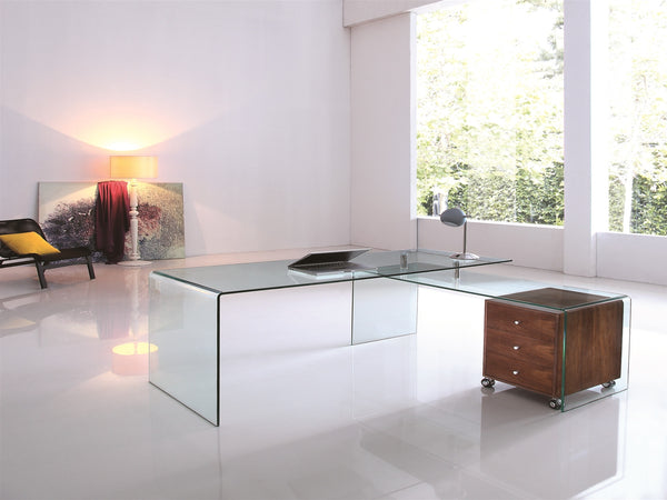 Ultra Modern L Shaped Glass Desk With Walnut Cabinet