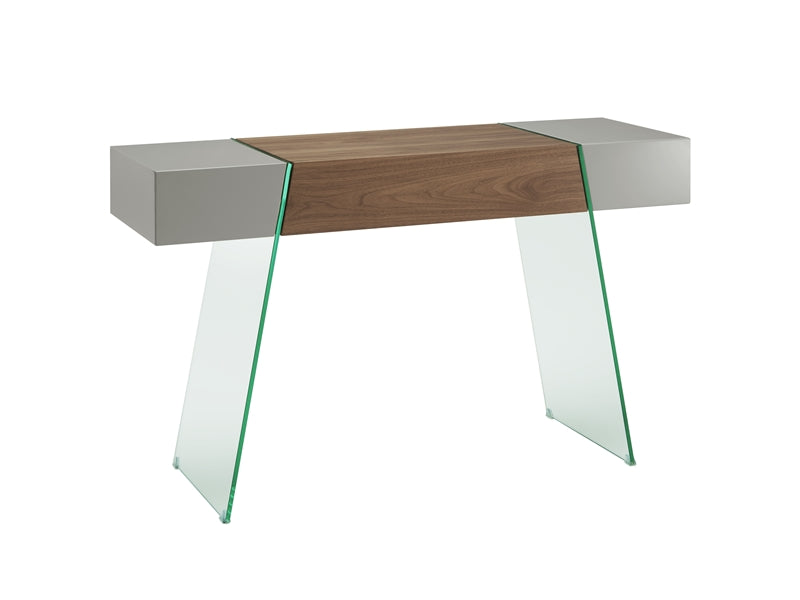 "47"" Chunky Gray, Walnut & Glass Console Desk"