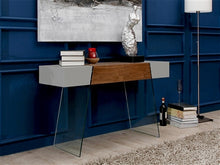 "Load image into Gallery viewer, 47"" Chunky Gray, Walnut & Glass Console Desk"
