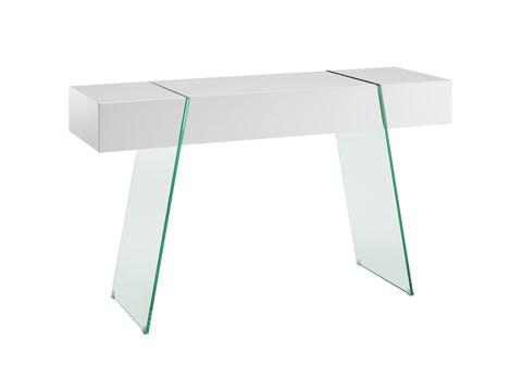 "47"" Chunky White & Glass Console Desk"