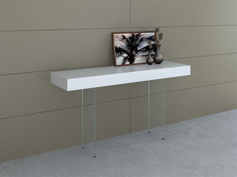 "Elegant White & Glass 55"" Console Desk"