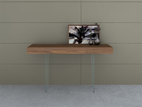 "Elegant Walnut & Glass 55"" Console Desk"