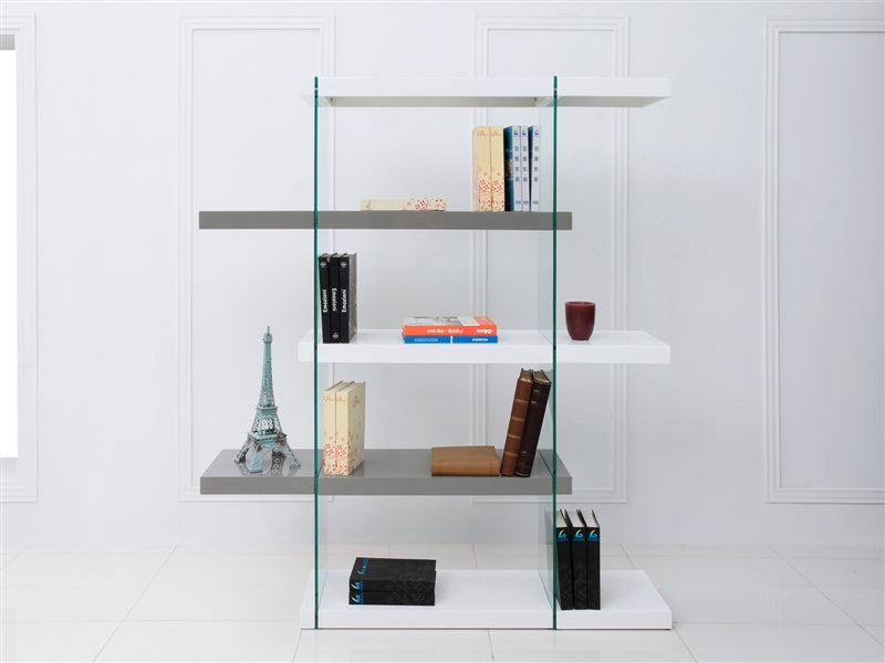 5-Shelf White & Gray Gloss Bookcase w/ Glass Support