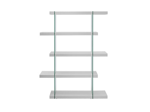 5-Shelf White Gloss Bookcase w/ Glass Support
