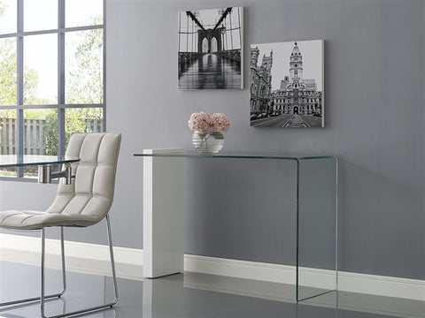 "47"" Glass Console Desk in Modern Style w/ White Leg"