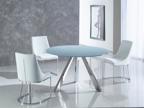 Round Light Gray Meeting Table w/ Stainless Steel Base
