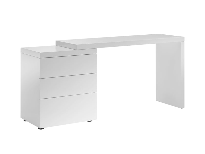 "51"" White High Gloss Office Desk with Extendable Arm"