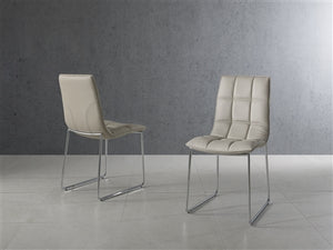 Gray Leatherette Guest or Conference Chair w/ Checked Design (Set of 2)