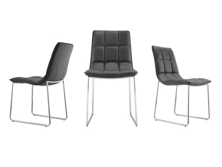 Black Leatherette Guest or Conference Chair w/ Checked Design (Set of 2)