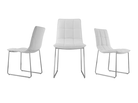 White Leatherette Guest or Conference Chair w/ Checked Design (Set of 2)