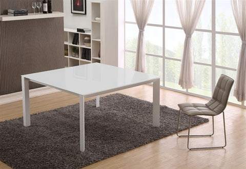 "55"" White Square Desk or Meeting Table with Glass Top"