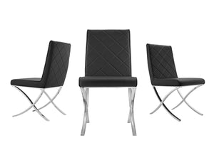 Guest or Conference Chair in Black Eco-Leather & Chrome (Set of 2)