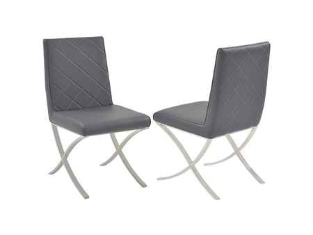 Guest or Conference Chair in Dark Gray Eco-Leather & Chrome (Set of 2)