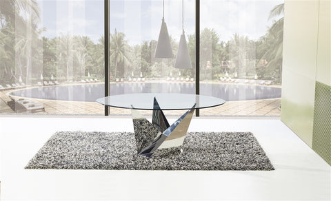 "60"" Modern Glass & Polished Stainless Steel Circular Meeting Table"