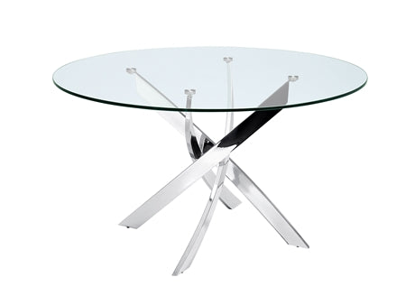 "Sleek Round 51"" Glass & Steel Meeting Table"