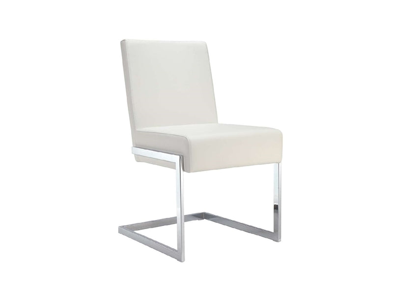 Square-Style Crisp White Eco-Leather Guest or Conference Chair (Set of 2)