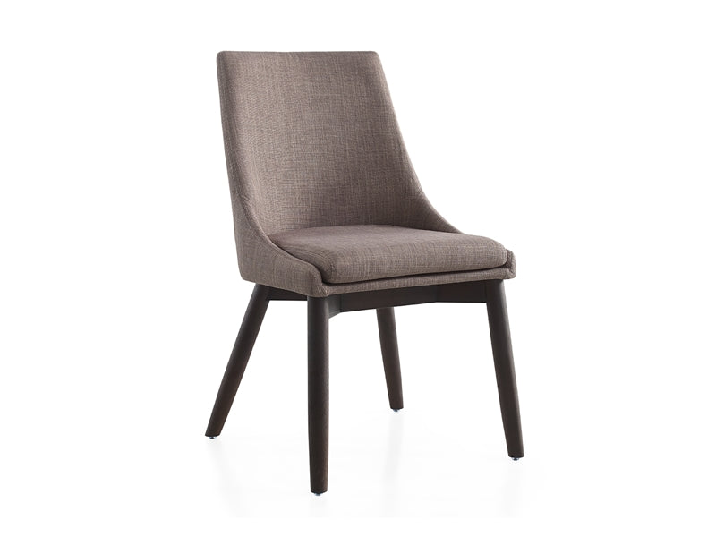 Sleek Guest or Conference Chair in Dark Gray Linen & Walnut (Set of 2)