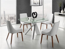 Load image into Gallery viewer, Sleek Guest or Conference Chair in White Eco-Leather & Walnut (Set of 2)