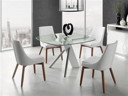 Sleek Guest or Conference Chair in White Eco-Leather & Walnut (Set of 2)