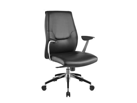 Crisp Black Eco-Leather Arm Office Chair