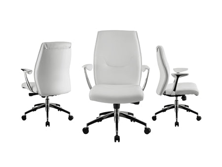 Crisp White Eco-Leather Arm Office Chair