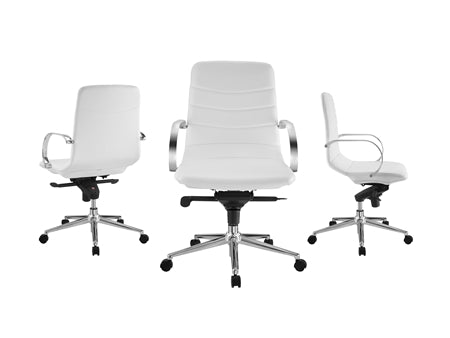 White Eco-Leather Office Chair w/ Arms