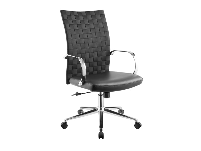 Black Rolling Office Chair w/ Eco-Leather Woven Back