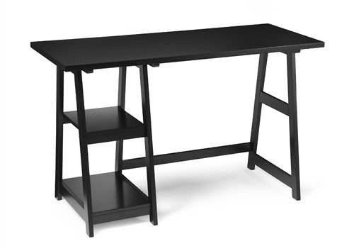 "Modern Black 47"" Trestle Desk with Shelves"