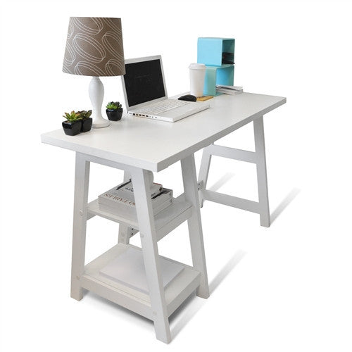 "Modern White 47"" Trestle Desk with Shelves"