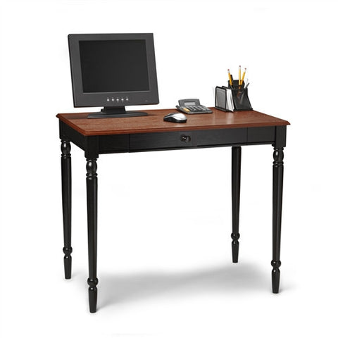 French Country Computer Desk in Black & Cherry Finish