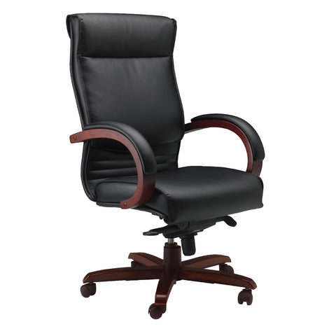 Exectuive Padded Leather Office Chair with Solid Cherry Wood Arms