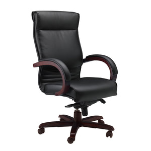 Exectuive Padded Leather Office Chair with Solid Mahogany Wood Arms