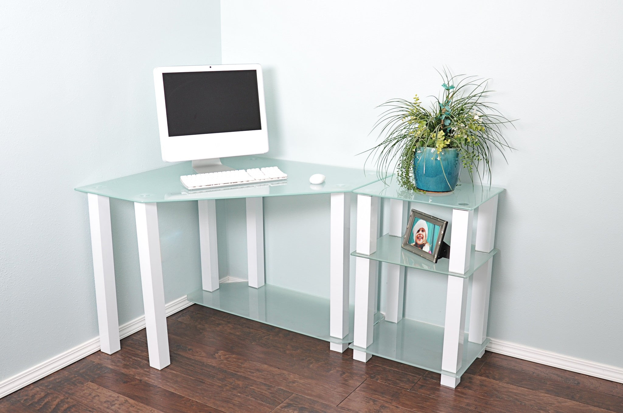 "Modern White Glass Corner Desk With 20"" Extension"