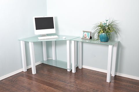 Modern L-Shaped White Glass Office Desk with Extension