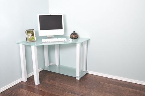 Modern Corner White Glass Desk with Lower Shelf