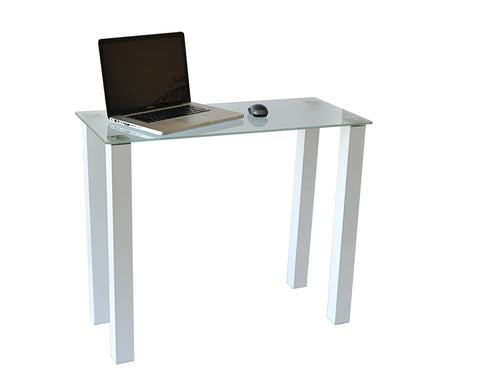 "Modern 35"" White Glass Computer Desk or Laptop Table"