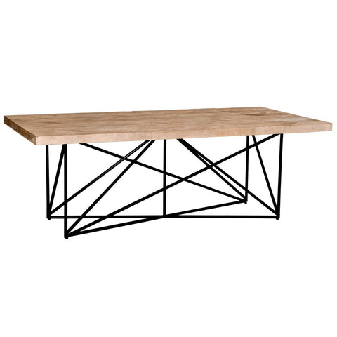 "86"" Modern Pine Conference Table With Geometric Design"