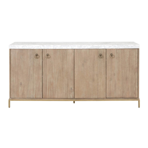 "72"" Marble Top and Brushed Gold Credenza"