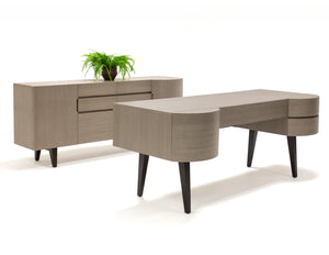 "Modern & Classic 74"" Light Gray Office Desk with Wenge Legs"