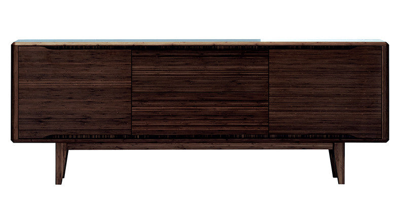 "Solid Bamboo 72"" Modern Credenza in Dark Walnut Finish"
