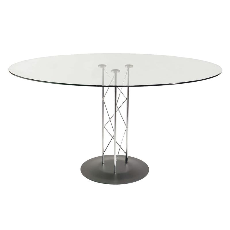 48' Stylish Round Tempered Glass Meeting Table