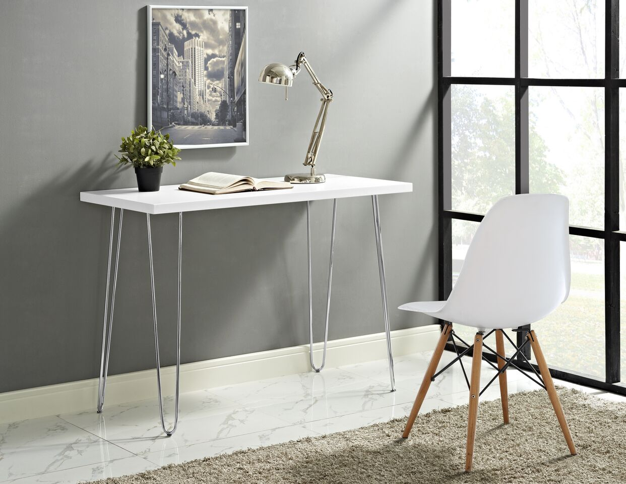"42"" Elegant Hairpin Leg Office Desk"