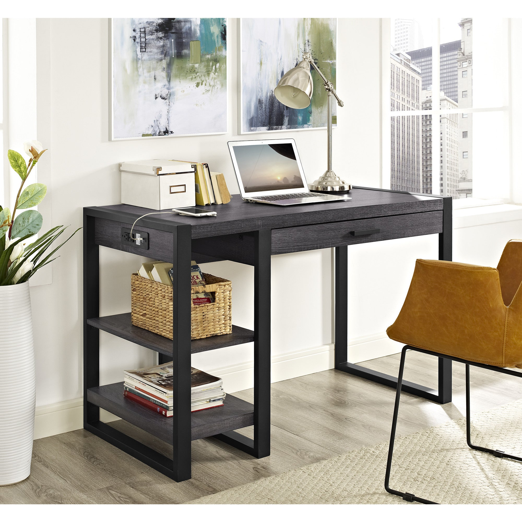"48"" Modern Charcoal Desk with Shelves & Built-In Plugs"