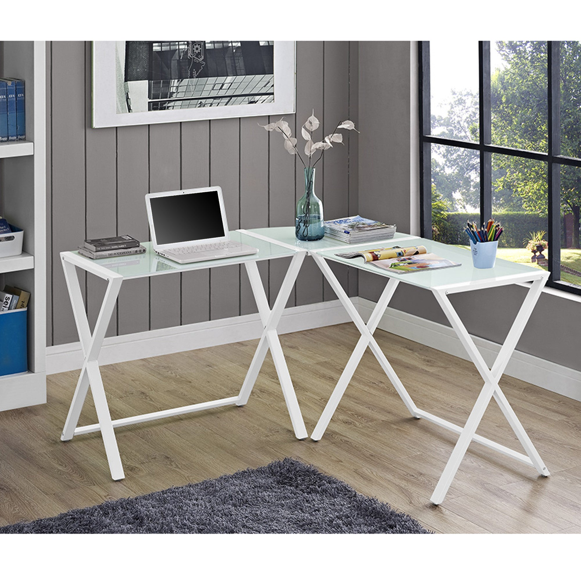 White Glass & Steel X-frame Corner Office Desk